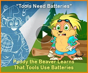 "Watch: ""Tools Need Batteries"" - ""Eco Builder"" a Paddy the Beaver Adventure"