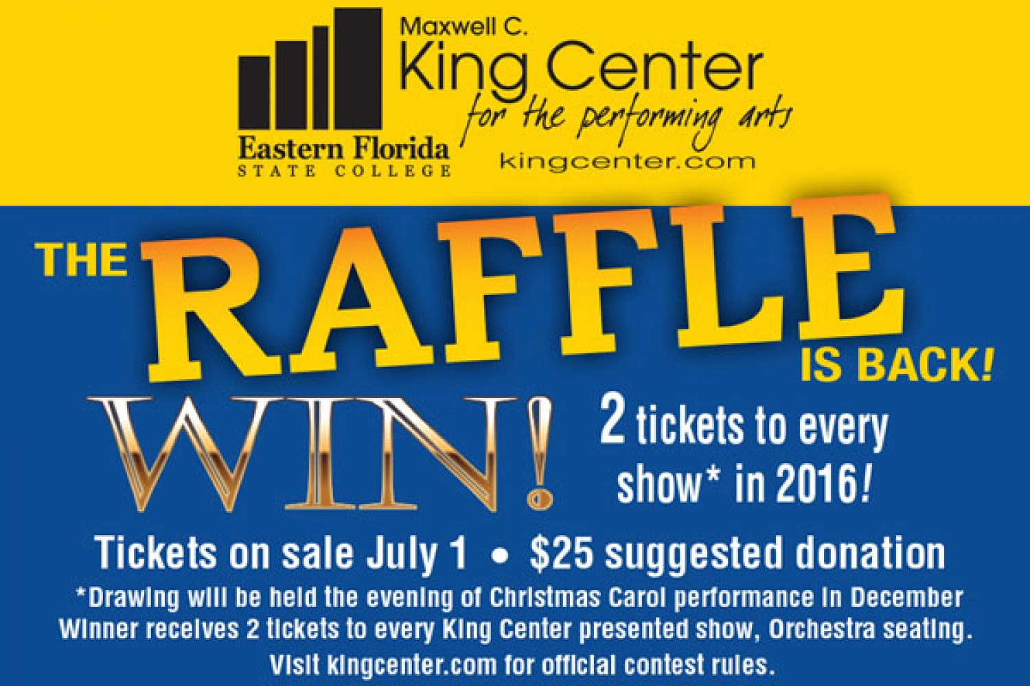 win two tickets raffle event item maxwell c king center for the win two tickets raffle