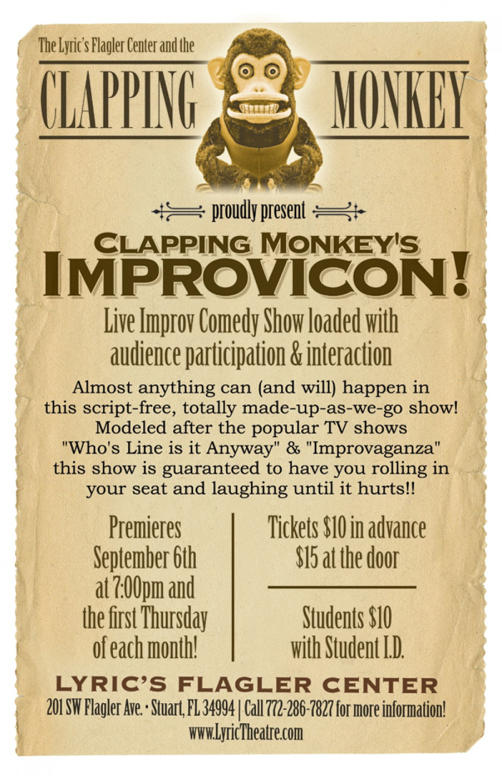 Clapping Monkey Improv Shows Tabloid Poster.jpg