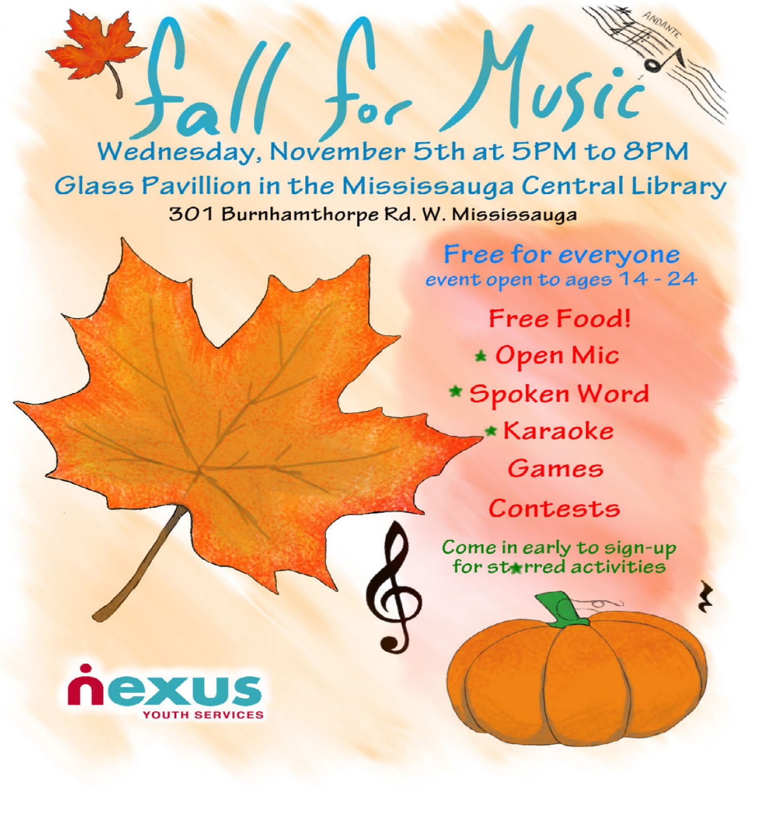 Free Talk Wednesday November 5th In >> Fall For Music With Nexus On November 5th News Nexus Youth Services