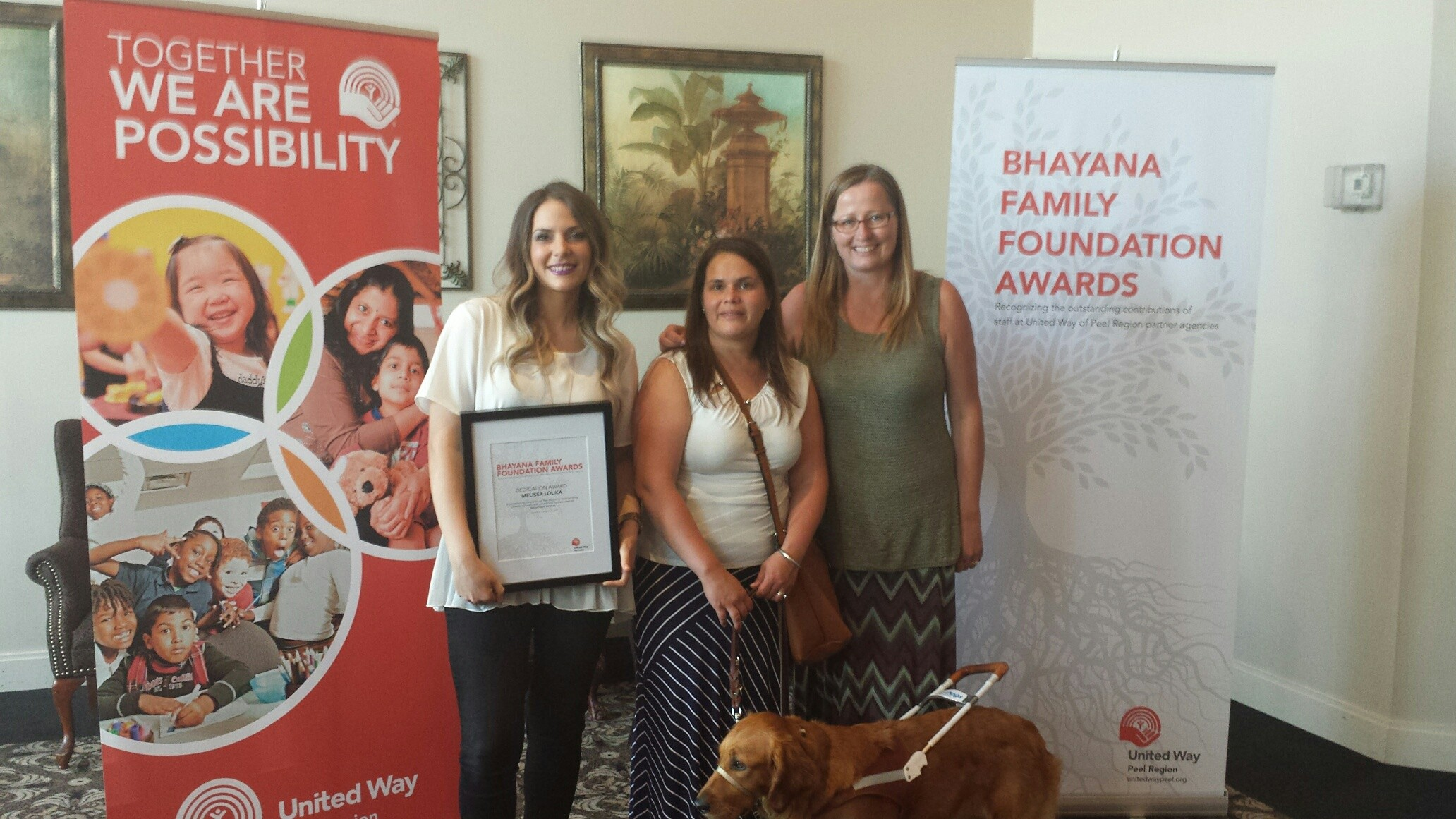Melissa Louka with Youth Engagement Coordinator Nancy Hood, Manager Karen Anslow and Nissa