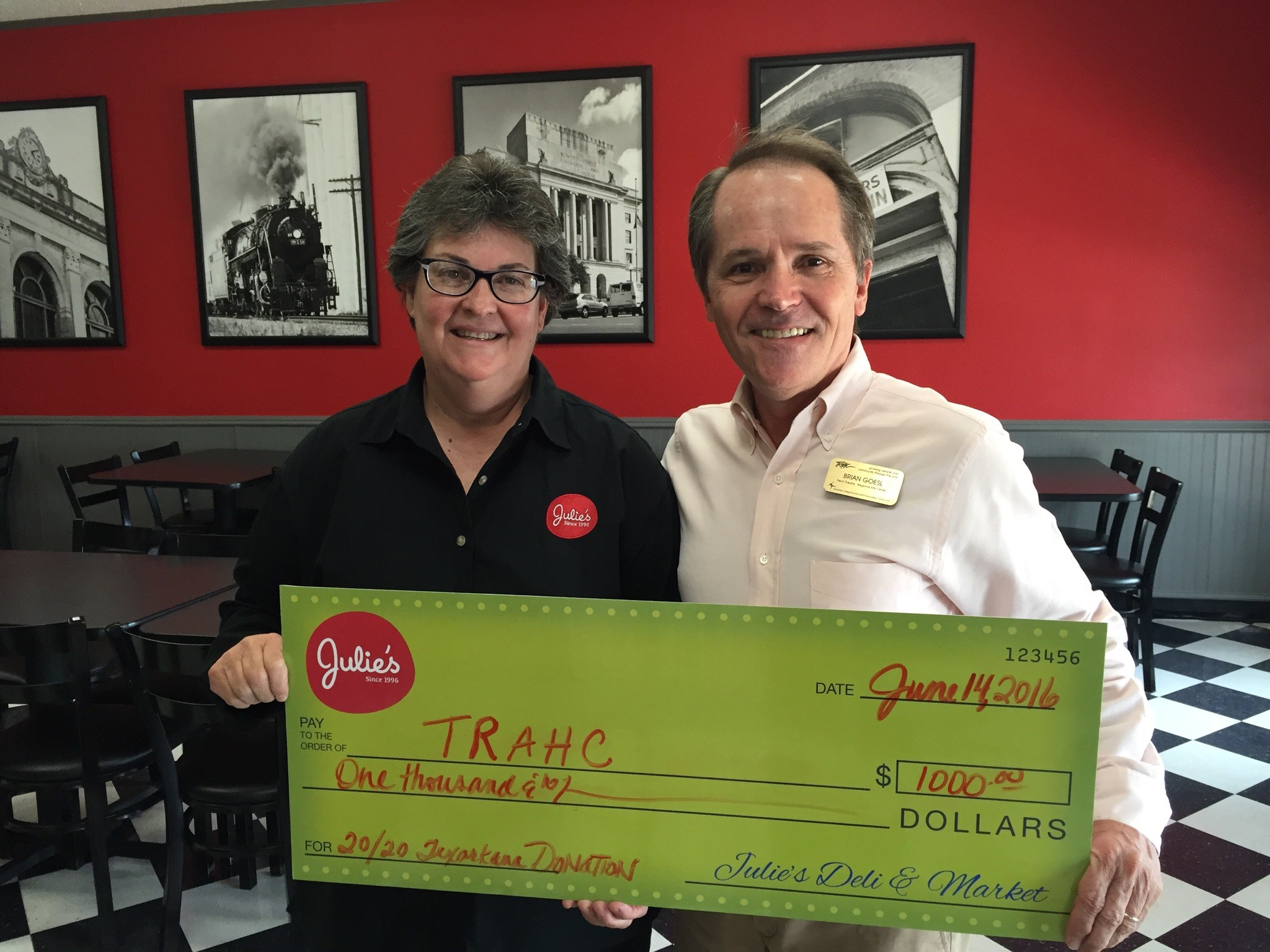 9395cd4693 TRAHC is Gifted $1,000 from Julie's Deli in 20th Anniversary Celebration|News  & Releases | TRAHC Texarkana Regional Arts & Humanities Council